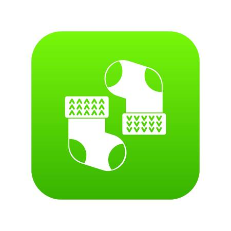 Baby socks icon digital green for any design isolated on white vector illustration
