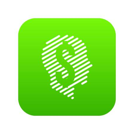 Dollar sign icon green vector isolated on white background