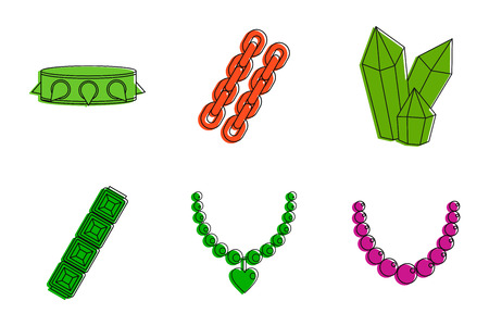 Color outline set of jewelry vector icons for web design isolated on white background