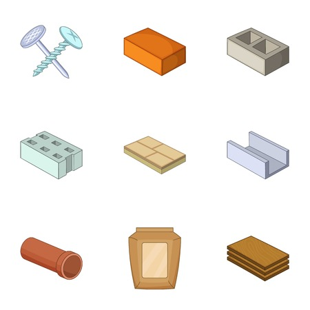 Building material icons set. Cartoon set of 9 building material vector icons for web isolated on white background Illustration