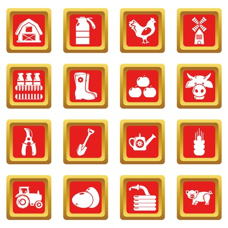 A Farm agricultural icons set vector red square isolated on white background