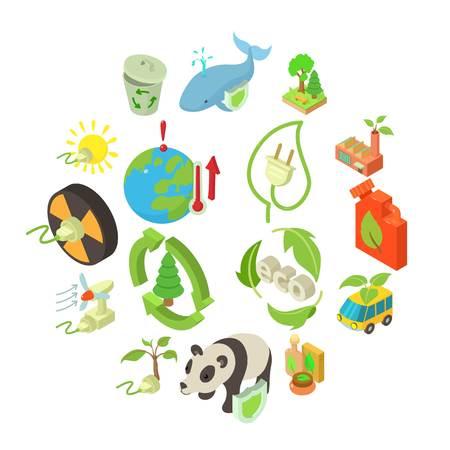 Ecology icons set. Isometric illustration of 16 ecology vector icons for web Illustration