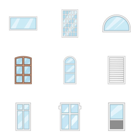 Cartoon set of 9 window vector icons for web isolated on white background