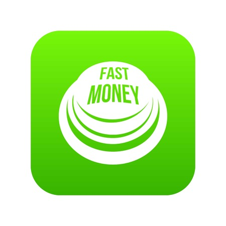 Fast money button icon green vector isolated on white background Stock Vector - 99933433