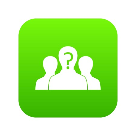 Group of people with unknown personality icon digital green for any design isolated on white vector illustration Vettoriali