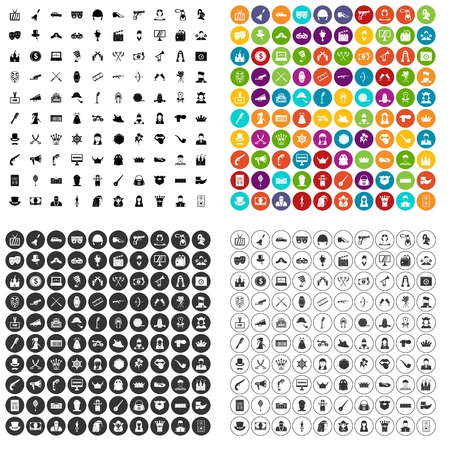100 cinema actor icons set vector in 4 variant for any web design isolated on white