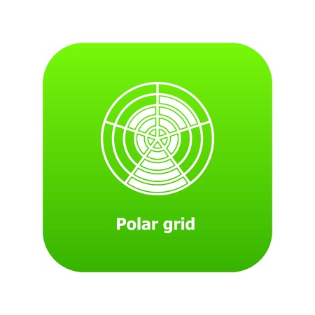 Polar grid icon green vector isolated on white background