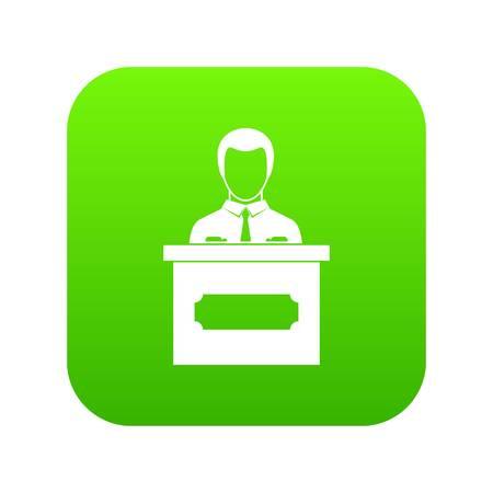 Businessman giving a presentation icon digital green for any design isolated on white vector illustration Ilustração