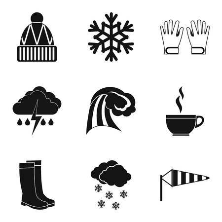 Hydrometeorological icons set. Simple set of 9 hydrometeorological vector icons for web isolated on white background