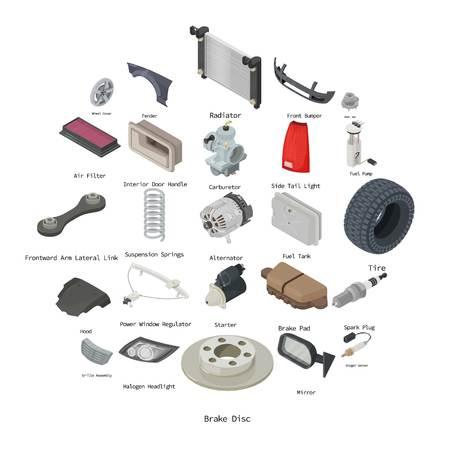 Jeu d'icônes de pièces de voiture. Illustration isométrique de 25 icônes vectorielles de pièces automobiles pour le web