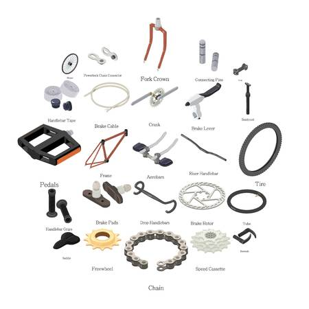 Bike parts icons set. Isometric illustration of 25 bike parts vector icons for web