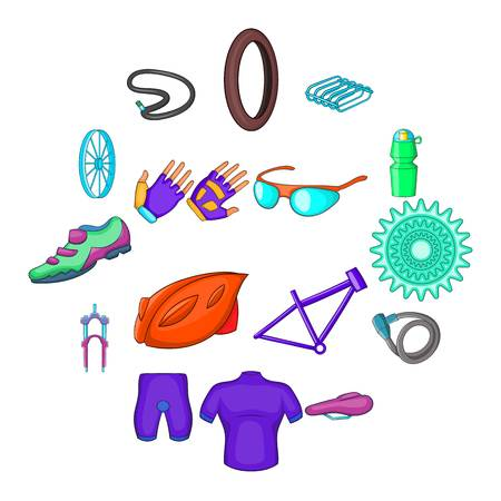 Bicycling icons set in cartoon style. Bike equipment set collection vector illustration