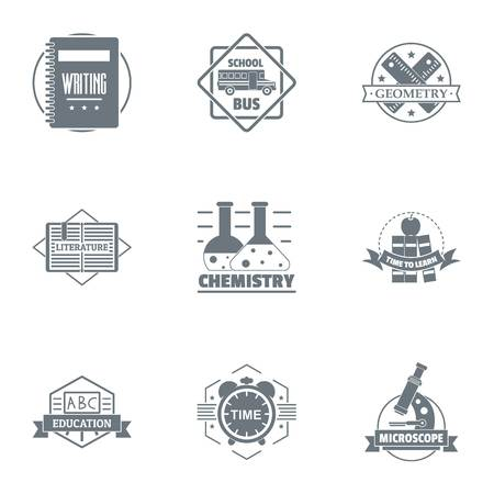 Science logo set. Simple set of 9 science vector logo for web isolated on white background  イラスト・ベクター素材