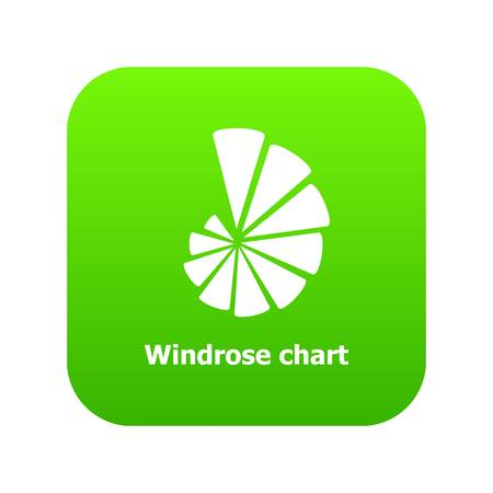 Windrose chart icon green vector isolated on white background  イラスト・ベクター素材