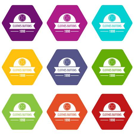 Clothes button design icons 9 set coloful isolated on white for web