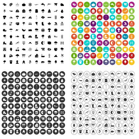 100 clouds icons set vector in 4 variant for any web design isolated on white background.