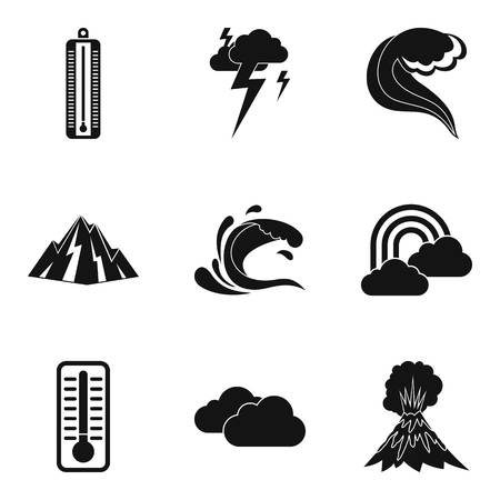 Meteorological office icons set. Simple set of 9 meteorological office vector icons for web isolated on white background.