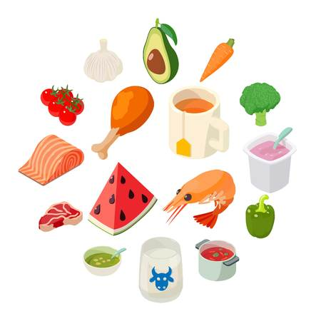 Food icons set. Isometric illustration of 16 food vector icons for web.