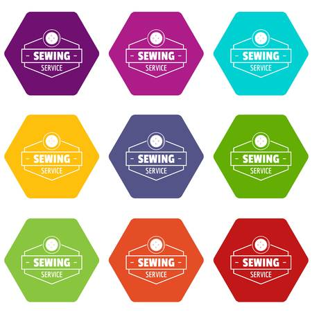 Sewing service icons 9 set colorful isolated on white for web.