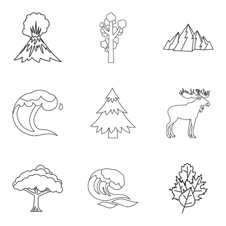 Warm climate icons set. Outline set of 9 warm climate vector icons for web isolated on white background. Illustration