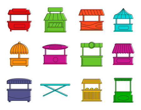 Street shop icon set. Color outline set of street shop vector icons for web design isolated on white background.
