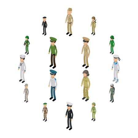 Soldier character icons set. Isometric illustration of 16 soldier character vector icons for web. Illustration