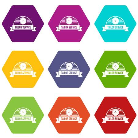 Tailor service icons 9 set coloful isolated on white for web