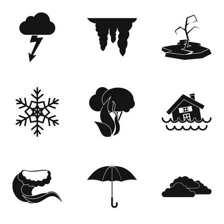 Hydro meteorological service icons set. Simple set of 9 hydro meteorological service vector icons for web isolated on white background. Ilustração