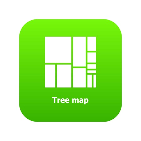 Tree map icon green vector isolated on white background