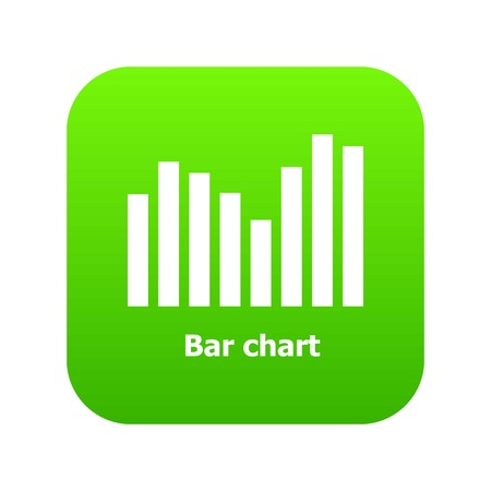 Bar chart icon green vector isolated on white background