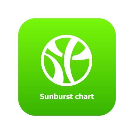 Sunburst chart icon green vector isolated on white background