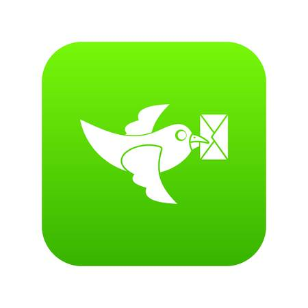 Pigeon fly with mail icon digital green for any design isolated on white vector illustration