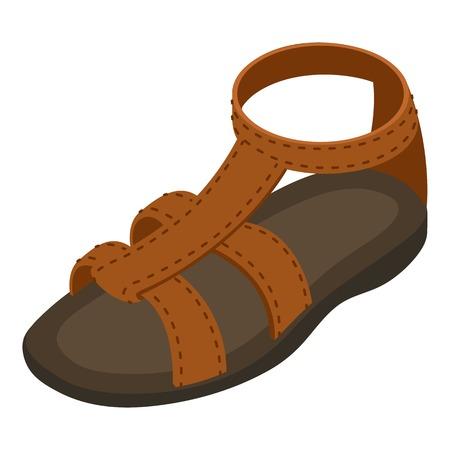 Summer sandal icon. Isometric illustration of summer sandal vector icon for web Vettoriali