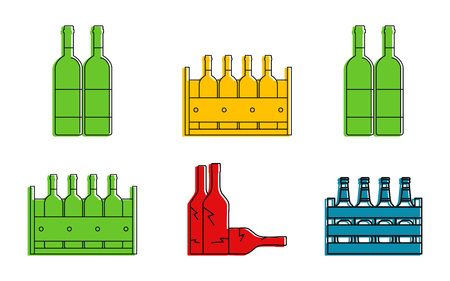 Bottle group icon set. Color outline set of bottle group vector icons for web design isolated on white background