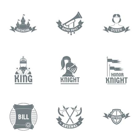 King logo set. Simple set of 9 king vector logo for web isolated on white background