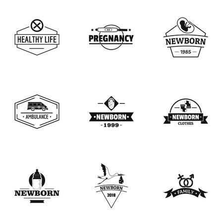 Newborn logo set. Simple set of 9 newborn vector logo for web isolated on white background
