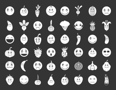 Emoji icon set vector white isolated on grey background