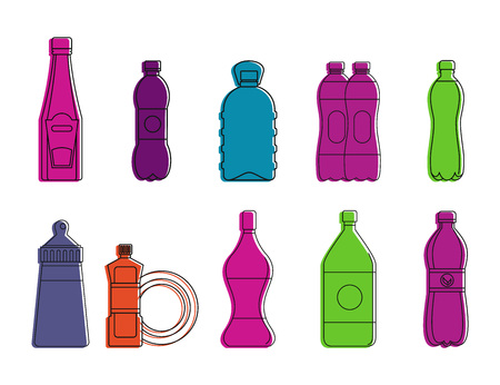 Plastic bottle icon set. Color outline set of plastic bottle vector icons for web design isolated on white background