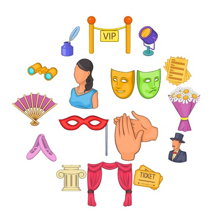 Theatre icons set in cartoon style. Theatre acting performance set collection vector illustration Stock Illustratie