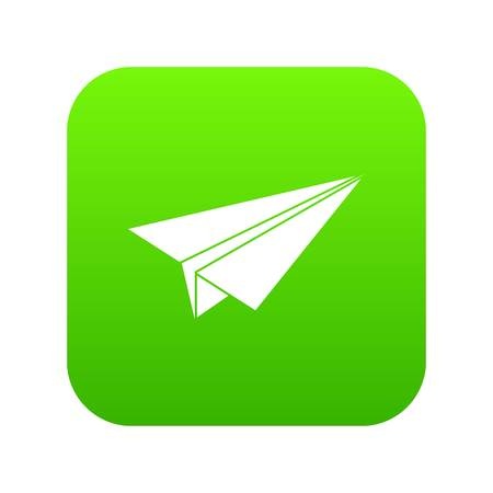 Paper airplane icon digital green for any design isolated on white vector illustration