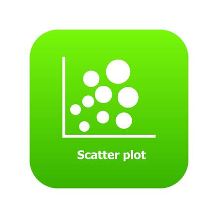 Scatter plot icon green vector isolated on white background