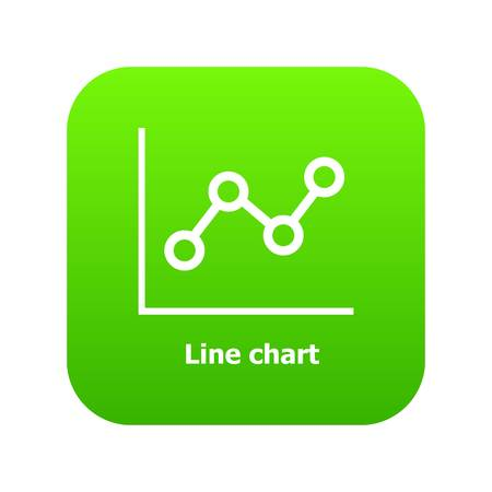 Line chart icon green vector isolated on white background  イラスト・ベクター素材