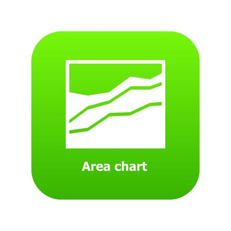 Area chart icon green vector isolated on white background Çizim
