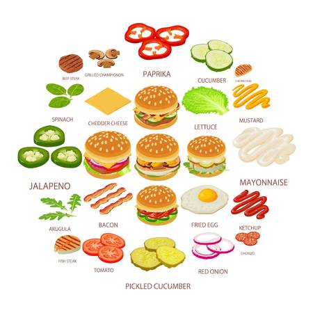 Burger ingredient icons set. Isometric illustration of 25 burger ingredient food vector icons for web