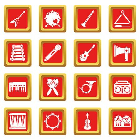 Musical instruments icons set vector red square isolated on white background