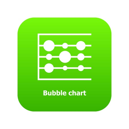 Bubble chart icon green vector isolated on white background