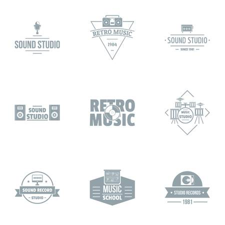 Piece of music logo set. Simple set of 9 piece of music vector logo for web isolated on white background