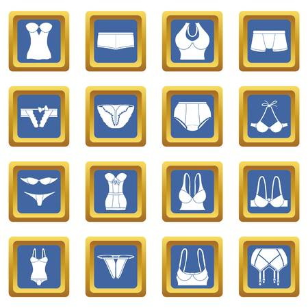Underwear icons set vector blue square isolated on white background Vectores