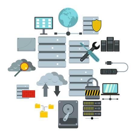 Flat database icons set. Universal database icons to use for web and mobile UI, set of basic database elements isolated vector illustration Illustration