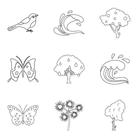 Melting icons set. Outline set of 9 melting vector icons for web isolated on white background